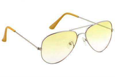 Feel Sunglasses Unisex Medium-58 Full Metal Silver Frame Yellow Plastic Lens 100% UV Protected Aviator Sunglasses