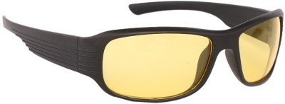 ABAZY Black Night Driving/ Riding Wrap-around Sunglasses