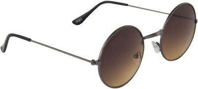 Camerii Round Copper Frame finish with Brown Lens Round Sunglasses
