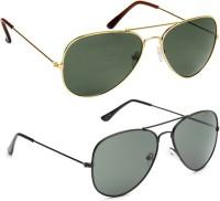 Gansta Gansta Black Aviator & Gold Aviator sunglass combo Aviator Sunglasses(Green)
