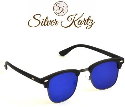 Silver Kartz Blue Mercury Gun-Metal Club Wayfarer, Rectangular Sunglasses