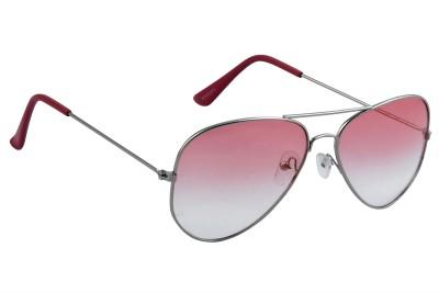 Feel Sunglasses Unisex Medium-58 Full Metal Silver Frame Pink Plastic Lens 100% UV Protected Aviator Sunglasses