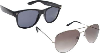Sellebrity Elegant Combo Classic Grey Aviator With Wayfare Black Sunglasses Aviator Sunglasses