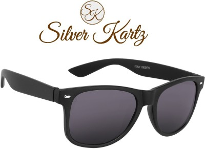 Silver Kartz Luxury Matt Black Wayfarer Sunglasses