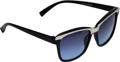 Style Square Fancy Aviator Black Frame Blue Lens Aviator Sunglasses