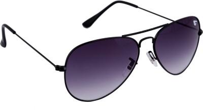 Gansta Gansta NXT-GN-3002 Classic Black Aviator Sunglass With Gradient Grey Lens Aviator Sunglasses(Violet)