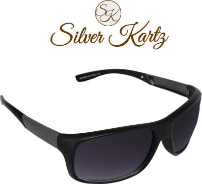 Silver Kartz Gun-Metal Matrix Wayfarer, Wrap-around Sunglasses