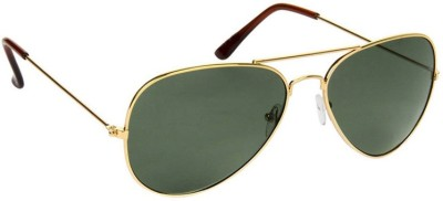 Allen Cate Golden Green Aviator Sunglasses