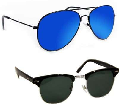Epic Ink aset2075 Aviator, Round Sunglasses(Blue, Grey)