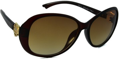 Red Knot 15112-MRN-YEL-60 Over-sized Sunglasses(Brown)