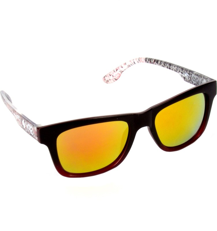 Red Knot TOPUP-29130-M-RED-YEL-MRN Wayfarer Sunglasses(Yellow)