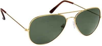 Gansta Gansta NXT-MH-1001 Classic Gold with greenish Polarised lens aviator sunglass Aviator Sunglasses(Green)