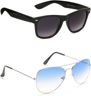 Allen Cate Combo of Blue Aviator & Black Dual Shade Wayfarer Sunglasses