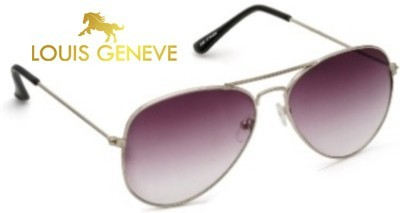 Louis Geneve Silver Frame with Purple Shade Lens Aviator Sunglasses