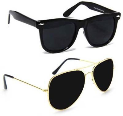 Cruze Combo Wayfarer, Aviator Sunglasses(Black, Black)