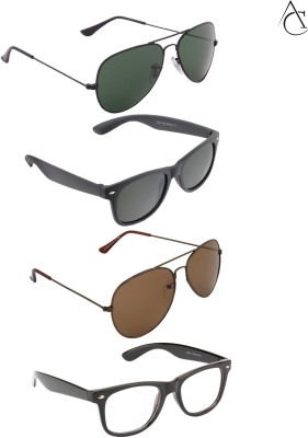 Allen Cate Combo of 4 Wayfarer, Aviator Sunglasses