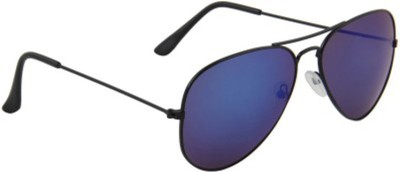Agera Agera AG1004 Black with blue mirror lens aviator sunglass Aviator Sunglasses(Blue)