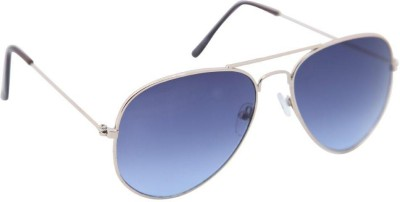 Gansta Gansta ZE-1025 Silver aviator sunglass with dark blue lens Aviator Sunglasses(Blue)