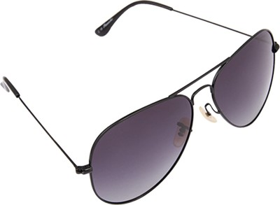 PANACHE Thin Wire Matte Black frame-Grey Gradient Polarised Lens Aviator Sunglasses