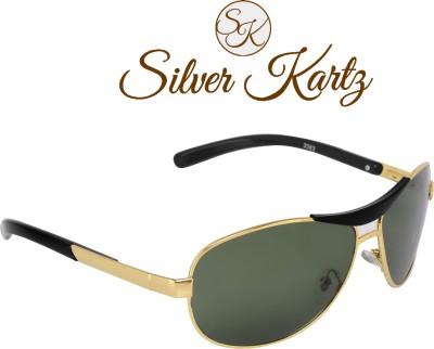 Silver Kartz Luxury Metal-Crown Green Wayfarer, Rectangular, Wrap-around Sunglasses