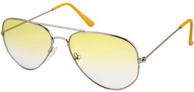 Agera Silver with Yellow Lenses Aviator Sunglasses