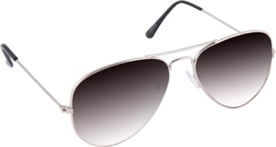 Gansta Gansta MH-1001 Silver with gradient grey polarised lens aviator sunglass Aviator Sunglasses(Grey)
