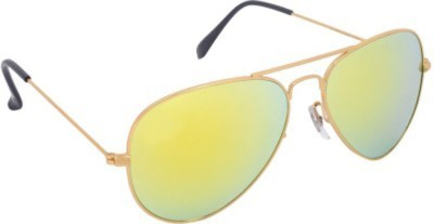 Agera Agera AG1004 Gold with green mirror lens aviator sunglass Aviator Sunglasses(Grey)