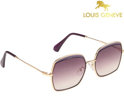 Louis Geneve Luxury Series Golden Frame with Brown Lens Cat-eye Sunglasses