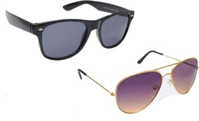 Sellebrity Elegant Combo Classic Gold Aviator With Wayfare Black Sunglasses Aviator Sunglasses