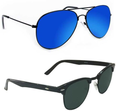 Epic Ink aset2076 Aviator, Round Sunglasses(Blue, Grey)