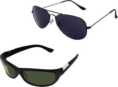 Ansh Fashion Wear SUN-2CM-GOG-63 Wayfarer Sunglasses(Green, Black)