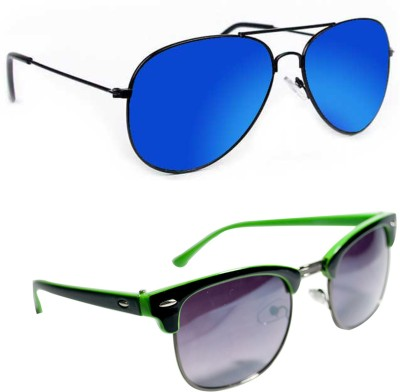 Epic Ink aset2078 Aviator, Round Sunglasses(Blue, Grey)