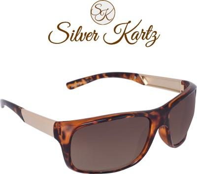 Silver Kartz Luxury Brass_Gold Temple Wayfarer, Rectangular Sunglasses