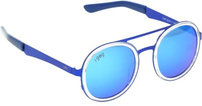 I-GOG Round Blue Mirror Round Sunglasses