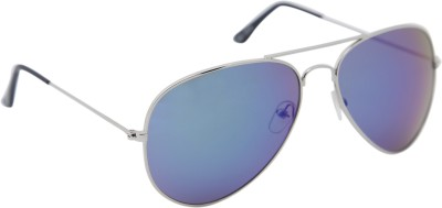 Agera Agera AG1004 Silver with blue mirror lens aviator sunglass Aviator Sunglasses(Blue)