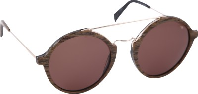 Mango Pickles Ro-5009-Brown-Silver Round Sunglasses(Brown)