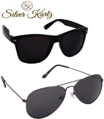 Silver Kartz Classic Combo Aviator, Wayfarer Sunglasses
