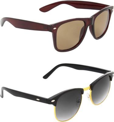 Zyaden COM542 Wayfarer, Clubmaster Sunglasses(Brown, Green)