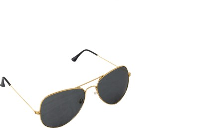 QWERTY Blue Golden Frame Aviator Sunglasses