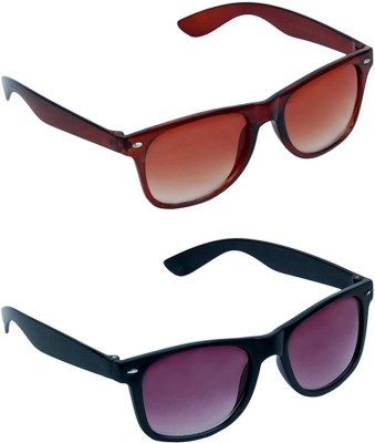 Allen Cate Combo of 2 Brown & Black Wayfarer Sunglasses