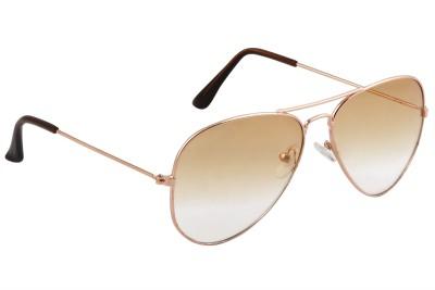 Feel Sunglasses Unisex Medium-58 Full Metal Golden Frame Brown Plastic Lens 100% UV Protected Aviator Sunglasses