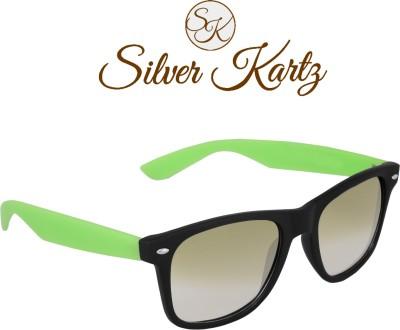 Silver Kartz Beach Sky Green Wayfarer, Rectangular Sunglasses