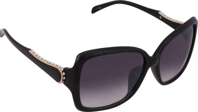 Qwerty Black women stones Round, Rectangular Sunglasses