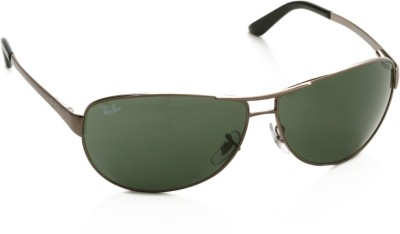 Ray-Ban 0RB3342I 004 Aviator Sunglasses(Green) at flipkart