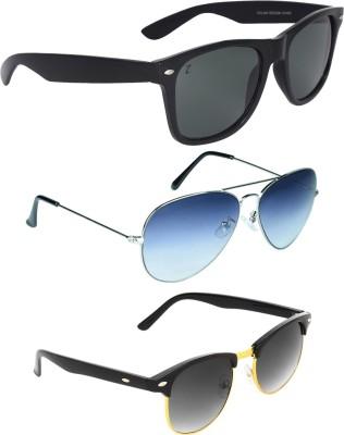 Zyaden COM247 Wayfarer, Aviator, Round Sunglasses(Black, Blue, Black)
