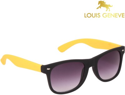 Louis Geneve Budget Series Black and Yellow Frame with Grey Lens Wayfarer Sunglasses