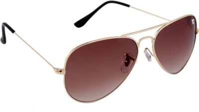 Gansta Gansta NXT-GN-3002 Gold & Brown Lens Aviator Sunglass Aviator Sunglasses(Brown)