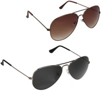 David Martin SDM-6-9 Aviator Sunglasses(Black, Brown)