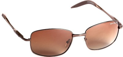 T1 Vision Technofirst Polarized 2 Brown Large Rectangular Sunglasses