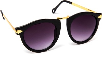 TheWhoop DN01 Premium Black Golden Women Wayfarer Sunglasses(Violet)
